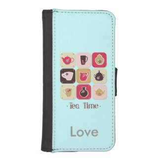 Tea Time Sweet Personalized Blue iPhone SE/5/5s Wallet Case