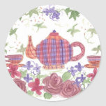 Tea Time Teapot and Flowers Classic Round Sticker