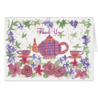 Tea Time Teapot and Flowers Thank You Stationery Note Card