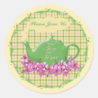 Tea Time Teapot Spring Plaid Classic Round Sticker