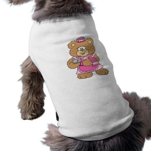 tea time teddy bear design doggie t shirt