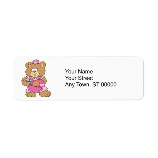 tea time teddy bear design label