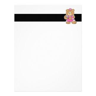 tea time teddy bear design letterhead