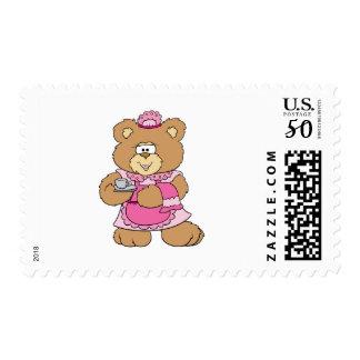 tea time teddy bear design postage