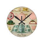 Tea Time Vintage Pastel Art Wall Clock