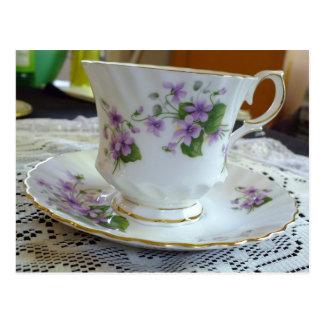Tea Time - Vintage Violets Tea Cup Postcard