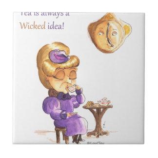 Tea Time Wicked Witches Azulejo Cuadrado Pequeño