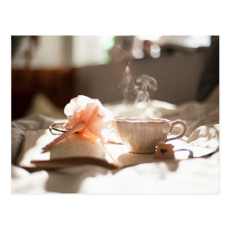 Tea Time with a good book in bed Postcard