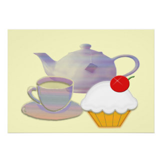 Tea time with cherry cupcake art  Poster