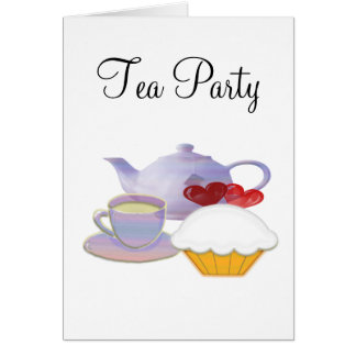 Tea time with cupcake hearts stationery note card