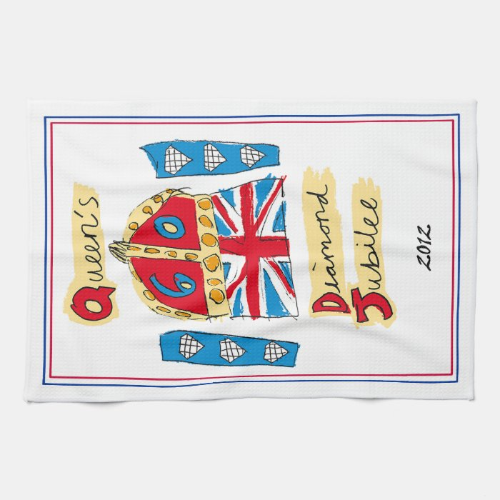 Tea Towel, Queen's Diamond Jubilee Kitchen Towels