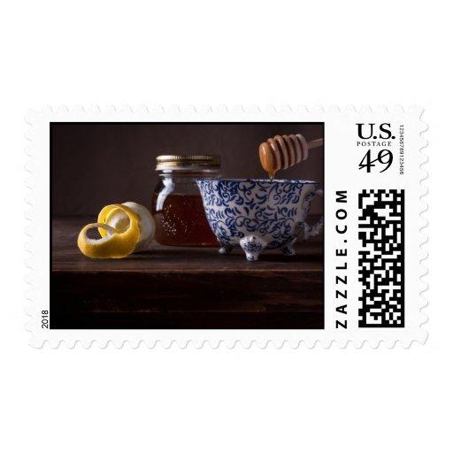Tea with lemon and honey stamp