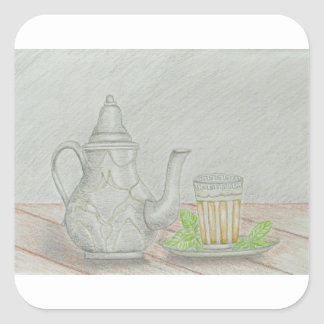 tea with mint square sticker