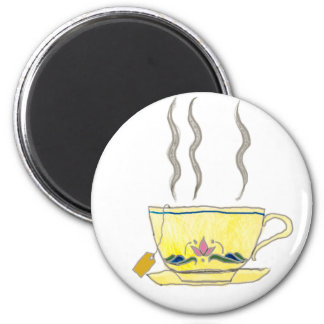teabag in a teacup 2 inch round magnet