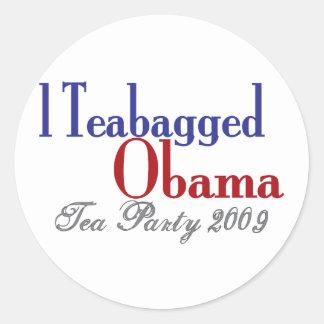 Teabag Obama (Tea Party 2009) Classic Round Sticker