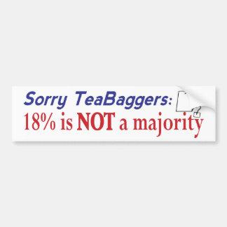 Teabagger 18% car bumper sticker