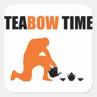 Teabow Time Tea Set Football Prayer Square Sticker