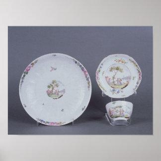 Teabowl de Worcester y platillo y plato Posters