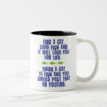 Teach a Cat to Fish Ceramic Coffee Mug