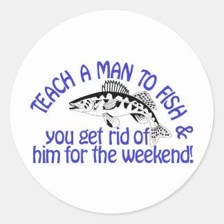 Teach A Man Classic Round Sticker