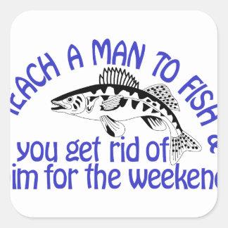 Teach A Man Square Sticker