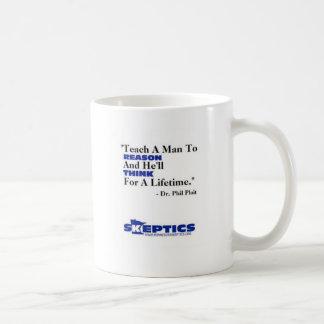 Teach a man to reason coffee mug