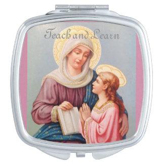 'Teach and Learn' Saint Anne Compact Mirror