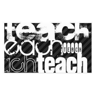 Teach; Black & Dark Gray Stripes Double-Sided Standard Business Cards (Pack Of 100)