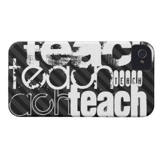 Teach; Black & Dark Gray Stripes iPhone 4 Cover