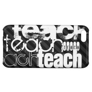 Teach; Black & Dark Gray Stripes iPhone 5C Cover