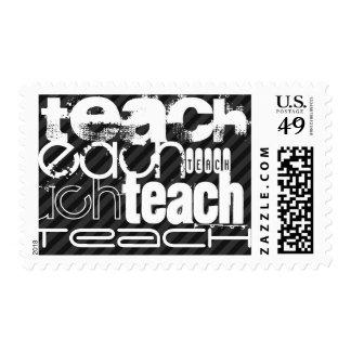 Teach; Black & Dark Gray Stripes Postage