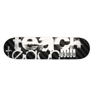Teach; Black & Dark Gray Stripes Skateboard Deck