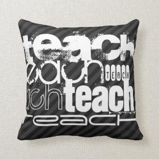 Teach; Black & Dark Gray Stripes Throw Pillow