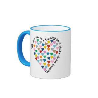 Teach Hearts Ringer Mug