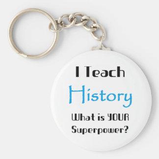 Teach history basic round button keychain