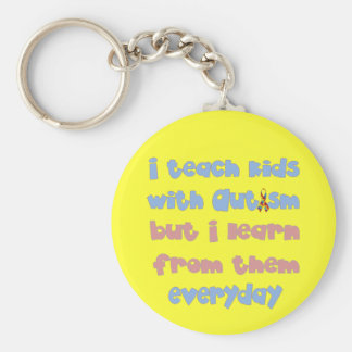 Teach Kids with Autism - Awareness Ribbon Basic Round Button Keychain