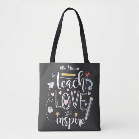 teach love inspire favorite teacher fashion tote bag