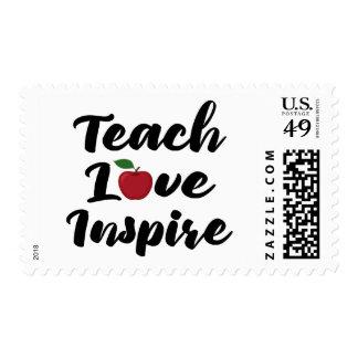 Teach Love Inspire Teacher Quote Apple School Postage
