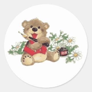 Teach Me To Write Bear trasnparent Classic Round Sticker