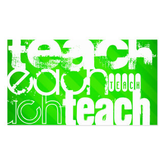 Teach; Neon Green Stripes Double-Sided Standard Business Cards (Pack Of 100)