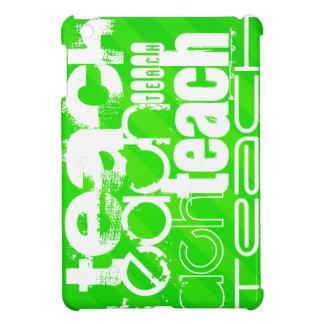 Teach; Neon Green Stripes iPad Mini Cases