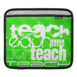 Teach; Neon Green Stripes Sleeves For iPads