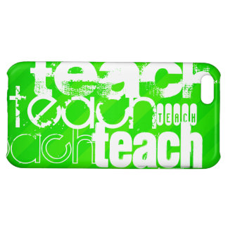 Teach; Neon Green Stripes iPhone 5C Cover