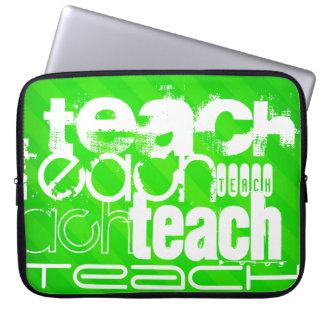 Teach; Neon Green Stripes Laptop Sleeve