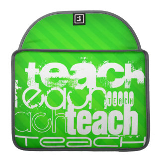 Teach; Neon Green Stripes Sleeves For MacBook Pro