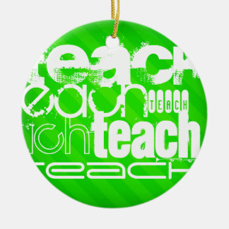 Teach; Neon Green Stripes Double-Sided Ceramic Round Christmas Ornament