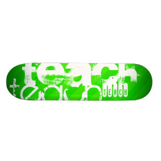 Teach; Neon Green Stripes Skateboard
