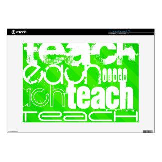 "Teach; Neon Green Stripes 15"" Laptop Skins"
