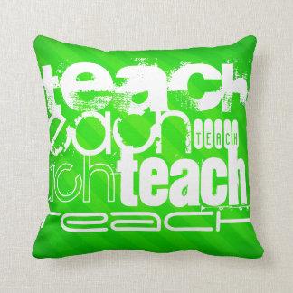 Teach; Neon Green Stripes Throw Pillow