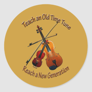 Teach Old Time Tune Classic Round Sticker